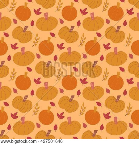 Cute Fall Vector Seamless Pattern Background With Various Hand Drawn Pumpkins And Leaves. Sweet Autu
