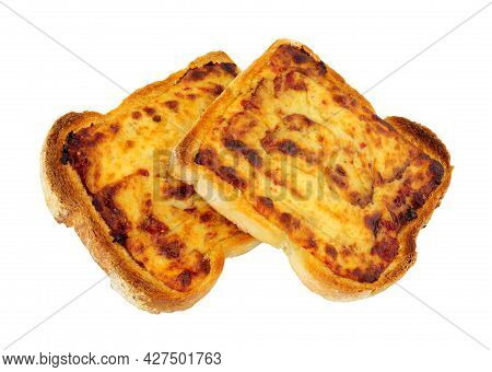 Grilled Cheddar Cheese On Toast Isolated On A White Background