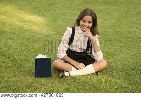 Be A Reader. Pretty Child Little Girl Read Book. Study Literature For Children. Having Fun With Book