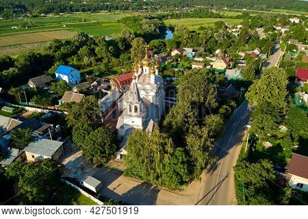 Panoramic Aerial View Of The Village Of Spas-zagorje And The Ancient 17th Century Temple. Spas-zagor
