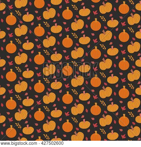 Cute Fall Vector Seamless Pattern With Various Hand Drawn Pumpkins And Leaves On Dark Background. Sw