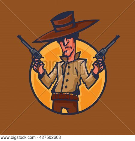 Cowboy Holding Revolvers. Wild West Concept Art In Cartoon Style.