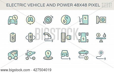 Electric Vehicle (ev) Vector Icon Design. Consist Of Auto Car Or Motor, Fuel, Electrical, Charger An