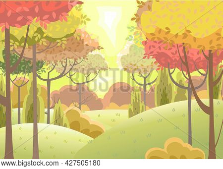 Forest. Funny Beautiful Autumn Landscape. Distant Horizon. Cartoon Style. Hills With Grass And Red,