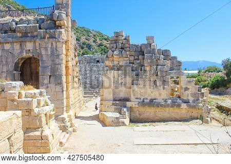Scenic View Of Rock Tombs Of Tlos An Ancient Ruined Lycian Hilltop Citadel Near The Resort Town Of F