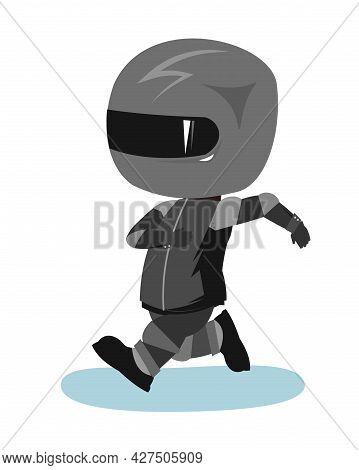 Motorcyclist In A Black Jacket And Helmet. Biker Uniform. Cartoon Style. Funny Character. Runs Fast.