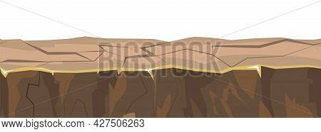 The Ground Platform Is Seamless. Wildlife. Clay. Isolated On White Background. Cartoon Style. Flat D