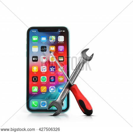 Mykolaiv, Ukraine - July 9, 2020: Iphone 11 With Home Screen On White Background. Repairing Service