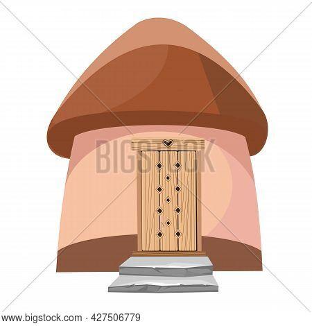 Fairytale Funny House Isolated. Dwelling Of Gnome. Beautiful Cartoon Illustration On White Backgroun