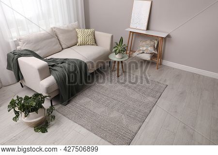 Living Room Interior With Stylish Rug And Furniture, Above View