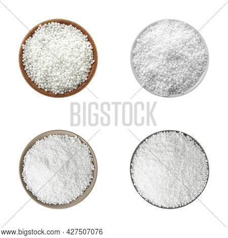 Set With Ammonium Nitrate Pellets In Bowls On White Background, Top View. Mineral Fertilizer