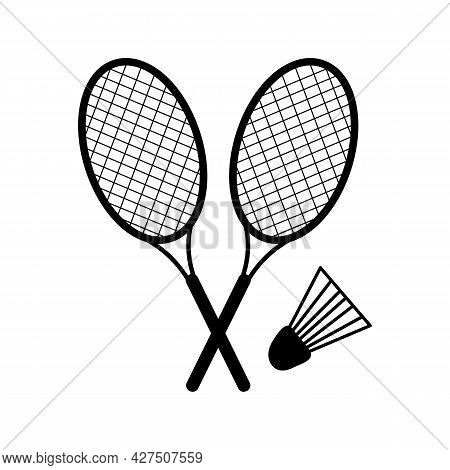 Two Badminton Rackets And A Shuttlecock. Vector Illustration Of Badminton Equipment. Icon For Sports