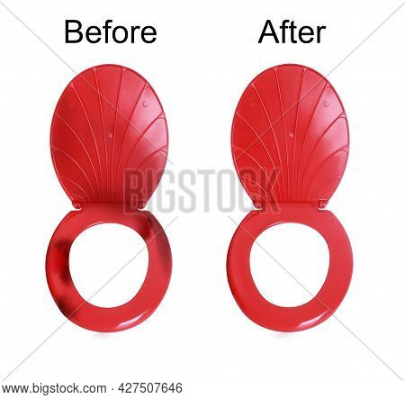 Plastic Toilet Seats Before And After Cleaning On White Background, Collage