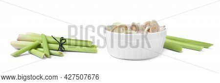 Aromatic Fresh Lemongrass On White Background, Collage. Banner Design