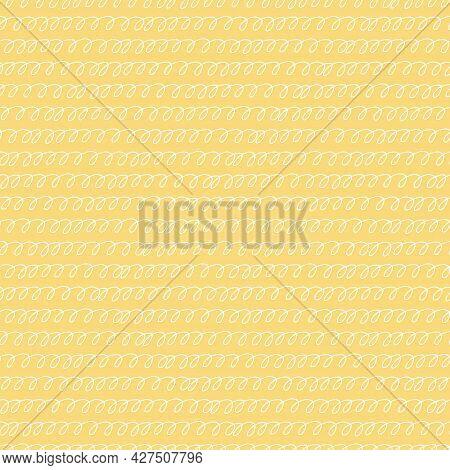 Seamless Pattern With Hand Drawn Spiral Lines, Handwriting Imitation, On Orange Background