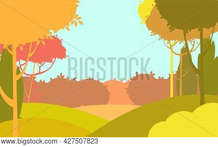 Silhouette Autumn Landscape. Beautiful Scenic Plant. Red, Ellow, Brown. Cartoon Style. Hills With Gr