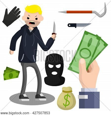 Thief With Knife. Robber In Black Cloth. Set Of Tools For Crime. Pinch Bar, Crowbar, Glove. Security