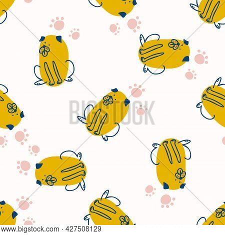 Seamless Cute Cartoon Pet Dog Doodle Pattern. Whimsical Minimal 2 Tone Gender Neutral Color. Kids Nu