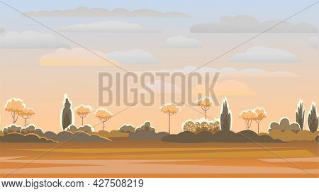 Rural Summer Beautiful Landscape. Sunset. Plain With Trees And Shrubs On Horizon. Cartoon Style. Rom