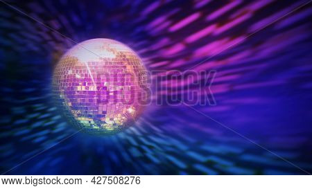 Sparkling Disco Ball With Bright Rays Over Dark Night Club Interior Background. Night Party Backgrou
