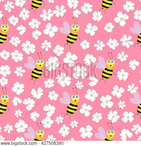 Seamless Pattern With Bees And Flowers On Color Background. Small Wasp. Vector Illustration. Adorabl