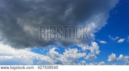 Blue Sky Nature Background With Clouds. Open View Out Windows Beautiful Summer Spring. Sun Rays In T
