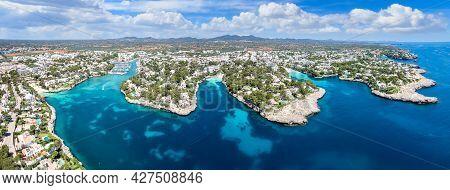 Aerial View Of  Cala Llonga, Cala Gran And Calo De Ses Dones In Majorca Island, Spain