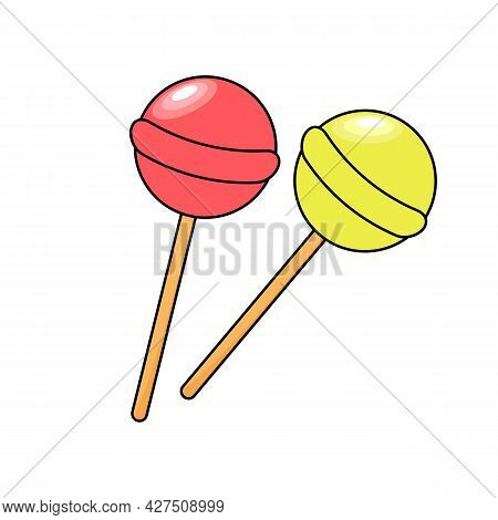 Lollipops Chupa-chups With A Stroke. Vector Illustration.