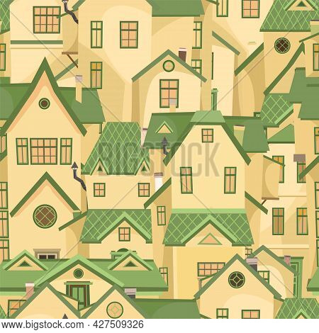 The Town Is Small. Street. Seamless Illustration With Cartoon Village Or City Houses. Day. Nice Cozy