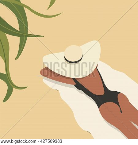 Vector Illustration Of A Girl In A Hat Lying On The Sand And Sunbathing. Fashion Illustration Of A W
