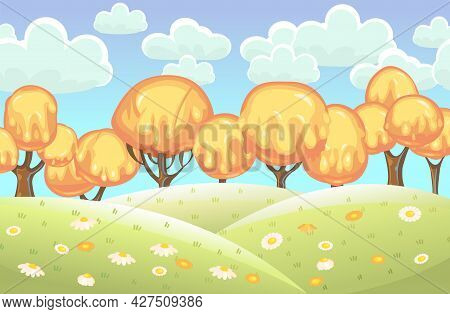 Fabulous Sweet Forest. Flows Of Yellow Cream, Jelly Or Caramel. Summer. Trees With Chocolate Trunks.