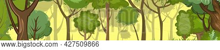 Forest. Landscape In The Morning. Cartoon Flat Style. Summer Scene. View Of Green Trees Close Up. Be