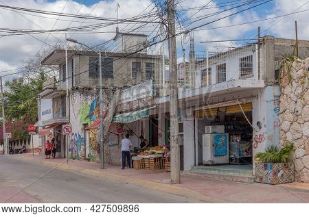 Commercial Street With Shops And Restaurants, Bacalar, Quintana Roo, Mexico