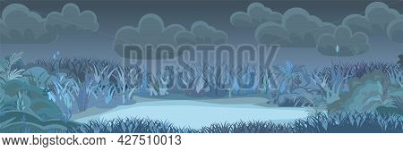 Meadow Glade In The Evening. Dark Thickets At Night. Grass Area. Beautiful And Graceful Landscape. F