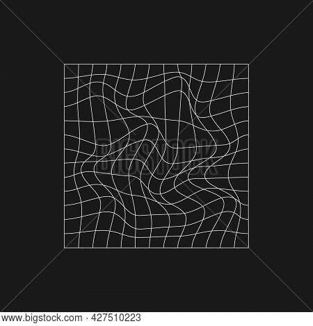 Retrofuturistic Rectangle Grid With Liquid Distortion. Cyber Design Element. Cyberpunk Distorted Gri