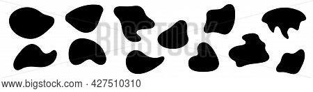 Amorphous Blob Shapes. Black Amoeba Asymmetric Shapes, Abstract Liquid Form,  Smooth Geometric Eleme