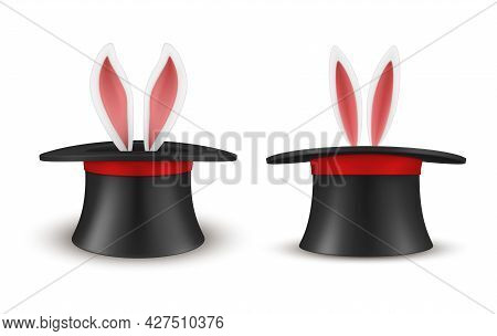 Set Of Rabbit Ears Appears From Magician Hat Vector Magic Headdress With Bunny Surprise