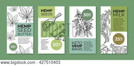 Collection Hemp Product Vertical Stories Poster Vector Illustration. Food With Natural Ingredients