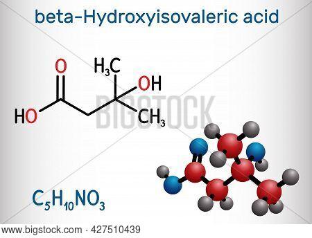 Beta-hydroxy Beta-methylbutyric Acid, Hmb, Beta-hydroxyisovaleric Acid Molecule. It Is Indicator Of