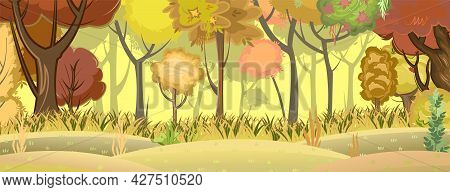 Autumn Forest. Green, Yellow And Red Plants. The Edge Of The Hills. Glade And Meadow. Beautiful And
