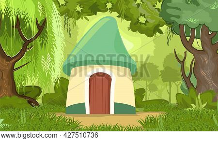 Fabulous Funny House In Clearing. Forest Meadow Landscape. Garden. Willow. Dwelling Of Gnome. Beauti
