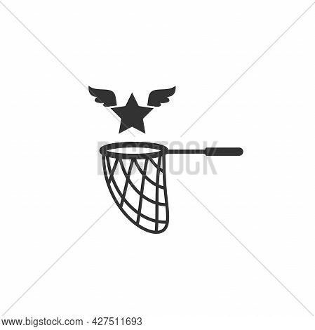 Butterfly Net With Star. Catch, Hunt, Chase Ideas And Inspiration Symbol. Achieve Goals Or Dreams Co