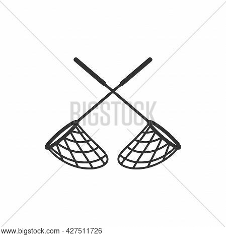 Two Crossed Butterfly, Pool Or Fish Flat Icon. Catch, Hunt, Chase Symbol. Vector Illustration Isolat