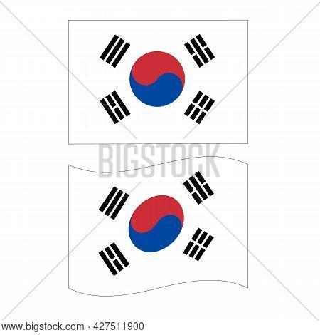 Flag Of South Korea On White Background. National Flag For Country Of South Korea. South Korea Flag