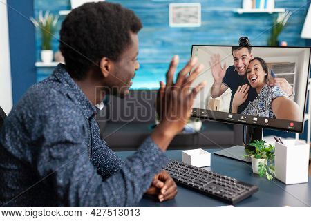 African American Guy On Online Video Call Chat Talking With Friends And Family Using Webcam On Compu