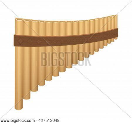 Pan Flute, Wooden Panpipes. Ancient, Rural Woodwind Musical Instrument With Pipes Of Different Lengt