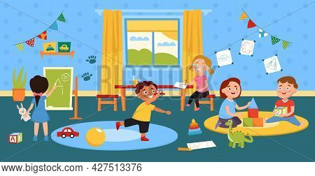 Children Playing In Room. Kids Activity In Kindergarten. Preschool Boys And Girls Play Toys And Draw