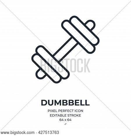 Dumbbell Editable Stroke Outline Icon Isolated On White Background Flat Vector Illustration. Pixel P