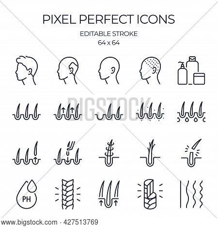 Hair Problems Related Editable Stroke Outline Icons Set Isolated On White Background Flat Vector Ill