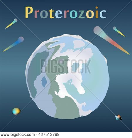 Proterozoic Era In The History Of The Earth. Snowball Earth. Global Glaciation Of The Earth.